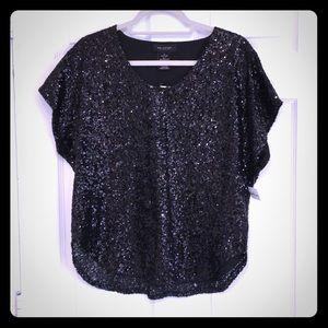 Mm couture sequin black dressy top small